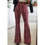 Lovely Casual Print Loose Rose Red Pants