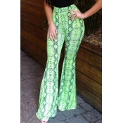 Lovely Casual Print Loose Green Pants