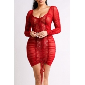 Lovely Chic Fold Design Red Mini Dress