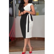 Lovely Chic Patchwork White Knee Length Dress