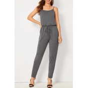 Lovely Casual Basic Grey One-piece Jumpsuit