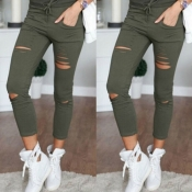 Lovely Casual Hollow-out Skinny Green Pants