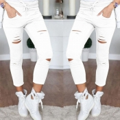 Lovely Casual Hollow-out Skinny White Pants