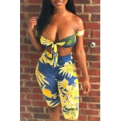Lovely Chic Dew Shoulder Print Yellow Two-piece Sh