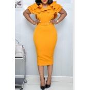 Lovely Sweet V Neck Flounce Yellow Knee Length Dre