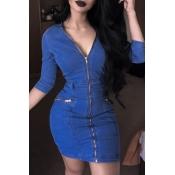 Lovely Casual V Neck Zipper Design Deep Blue Mini