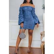 Lovely Casual Fold Design Blue Knee Length Dress