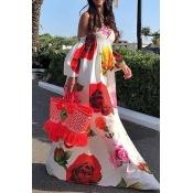 Lovely Sweet Print Loose White Maxi Dress