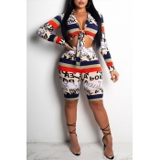 Lovely Chic Print Knot Design White Two-piece Shor