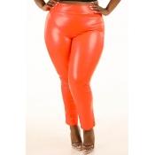 Lovely Sexy Skinny Orange Plus Size Pants