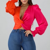 Lovely Casual V Neck Patchwork Rose Red Blouse