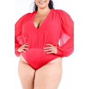 Lovely V Neck Red Plus Size Bodysuit