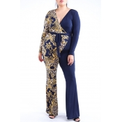 Lovely Bohemian V Neck Print Blue Plus Size One-pi