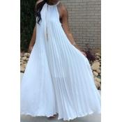 Lovely Bohemian Fold Design White Ankle Length Dress
