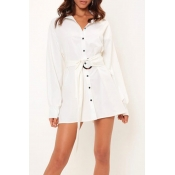 Lovely Casual Button White Mini Dress