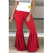 Lovely Casual Flounce Red Pants
