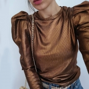 Lovely Casual Fold Design Brown Blouse