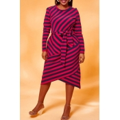 Lovely Chic Striped Red Knee Length Plus Size Dre