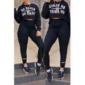 Lovely Casual Letter Print Black Two-piece Pants S