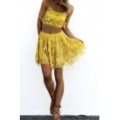 Lovely Chic Dew Shoulder Yellow Two-piece Skirt Se