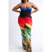 Lovely Chic Dew Shoulder Multicolor Plus Size One-