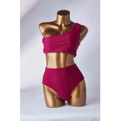 Lovely One Shoulder Wine Red Two-piece Swimsuit