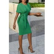 Lovely Chic Knot Design Green Knee Length Evening