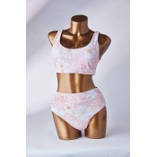 Lovely Print Pink Two-piece Swimsuit