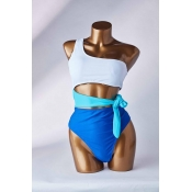 Lovely Knot Design Blue One-piece Swimsuit