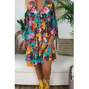 Lovely Bohemian Print Blue Knee Length Dress
