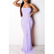 Lovely Casual  Knot Design Light Purple Evening Dr