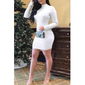Lovely Chic Turtleneck Skinny White Mini  Dress