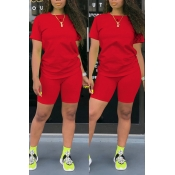 Lovely Casual Basic Red Two-piece Shorts Set