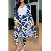 Lovely Stylish High Waist Print Blue Two-piece Pan