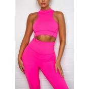Lovely Casual Crop Top Rose Red Two-piece Pants Se