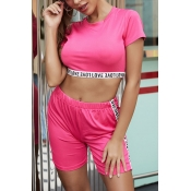 Lovely Casual Drawstring Pink Two-piece Shorts Set