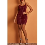 Lovely Party Striped Wine Red  Mini Dress