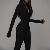 Lovely Casual Skinny Black One-piece Jumpsuit