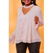 Lovely Leisure Flounce Pink Plus Size Blouse