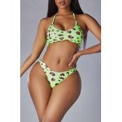Lovely Leopard Print Green Two-piece Swimsuit
