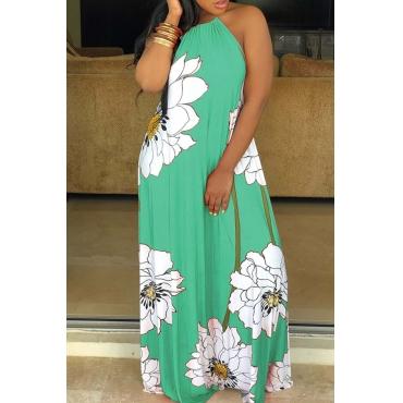 Lovely Bohemian Floral Print Light Green Mid Calf Dress