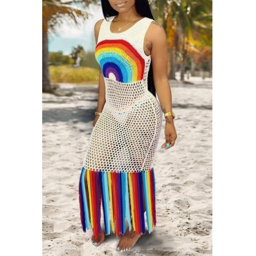 Lovely Patchwork Tassel White Beach Dress