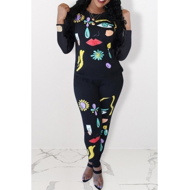 Lovely Casual Print Black Two-piece Pants Set