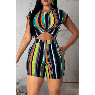 Lovely Leisure Striped Green Two-piece Shorts Set