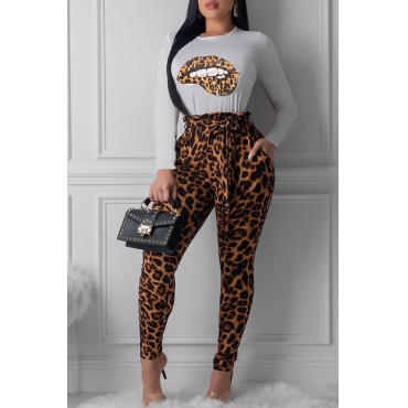 Lovely Casual Leopard Brown Two-piece Pants Set