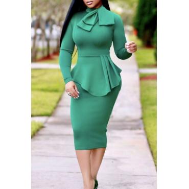 Lovely Chic Mandarin Collar Flounce Green Mid Calf Dress