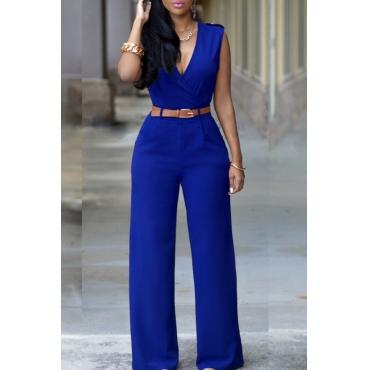 Lovely Trendy V Neck Blue One-piece Jumpsuit