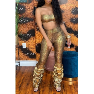 Lovely Sexy Off The Shoulder Gold Two-piece Pants Set