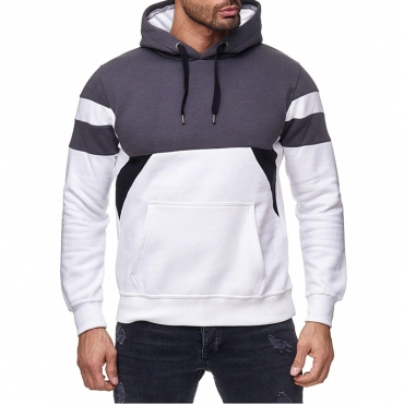 Lovely Casual Hooded Collar Patchwork Grey Hoodie