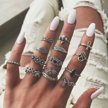 Lovely Chic 14-piece Silver Ring